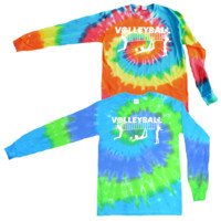 Volleyball Long Sleeve Tie Dye T-Shirt Players with Net Logo