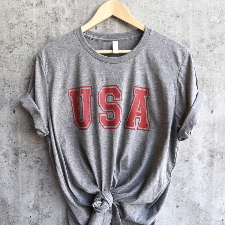 Image of Distracted - USA Unisex Triblend Graphic Tee in Grey/Red