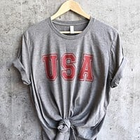 Distracted - USA Unisex Triblend Graphic Tee in Grey/Red