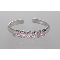 925 Sterling Silver Adjustable Toe Ring Single Row Pink CZ Stones
