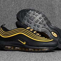 NIKE AIR MAX 97 Black Gold Running Shoes Size 40-47