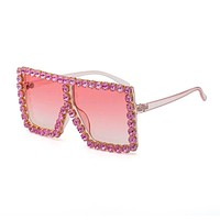 Pink Bling Square Sunglasses