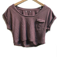 Red and Gray Stripe Crop Top from Insparel