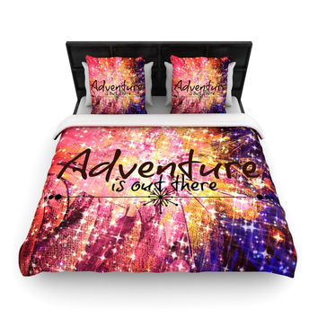 """Ebi Emporium """"Adventure is Out There"""" Pink Typography Woven Duvet Cover"""