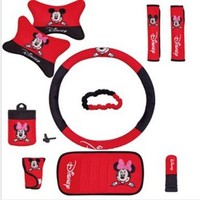 Disney Mickey 10pcs Car Accessories Seat Cover Safety Belt Covers/gear Cover/handbrake Cover/rearview Mirror Cover/head Pillow/wheel Cover/storage Bag/cd Clip