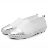 Women Espadrilles flats casual shoes leather slip on ballet ladies moccasins Breathable White Black Female loafers shoes
