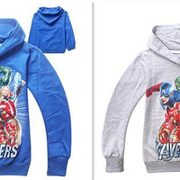 new arrive avengers outwear Girls iron man hulk Hoodie Long Sleeve Terry Hooded Jumper Cartoon Hoodies Outerwear Kids Clothing D266