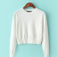 Cropped Long Sleeve Knit Sweater - White/Grey/Pink/Black/Navy/Red
