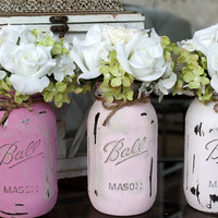 Painted and Distress Mason Jars~ Ombre Pink Pint sized