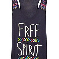 Embroidered Free Spirit Graphic Tank