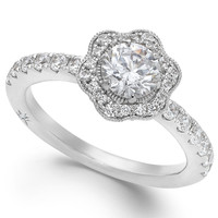 Marchesa Certified Diamond Flower Engagement Ring in 18k White Gold (1-1/4 ct. t.w.)