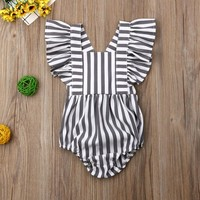 Newborn Baby Girl Boy Sleeveless Romper Striped Bodysuit Jumpsuit Outfit Sunsuit