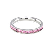 Stainless Steel Pink CZ Ring 4mm Stackable Band Cubic Zirconia