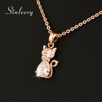 SINLEERY Charm White Cubic Zircon Cat Animal Pendant Necklace For Women Rose Gold Color Chain Jewelry Gifts Xl534