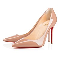 Christian Louboutin CL Decollete 554 Nude Patent Leather 100mm Stiletto Heel Classic Online