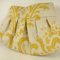 Pleated Clutch  Evening Bag  Purse  Wedding  Bridesmaid  TRADITIONS Damask  Corn Yellow and Linen