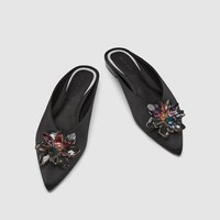 BEJEWELLED FLAT MULES DETAILS