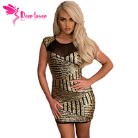 Dear Lover Gold Sequin Mesh Insert Mini Club Dress Sexy Sleeveless Women Summer Party With Paillette Vestido Lentejuelas LC22581