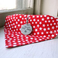 Handmade Dog Bandana with Space for Tags - Red and White Stars Velcro Over the Collar Dog Bandanna w ID Tag Slot Pet Accessories Dog Scarf
