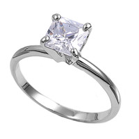 925 Sterling Silver CZ Solitaire Princess Cut Ring 12MM