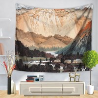 SunnyRain 1-Piece Visual Landscape Tapestry Big Trees Painted Tapestry Indian 130cmx150cm 150cmx200cm Boho Wall Carpet