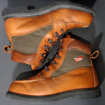 RED WING® 203 Brown Leather Work Boots Moc Toe Men's Size 11.5