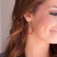 String Wrapped Wire Earrings - Burgundy