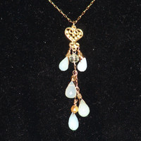 Sparc Jewelry- Pervian Opal Dangle and Gold Vermeil Necklace