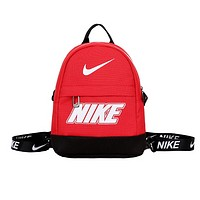 NIKE New fashion letter hook print couple canvas backpack bag Red