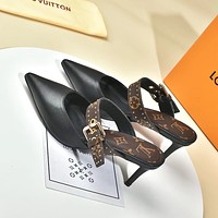 LV Louis Vuitton Women's Leather High-heeled Sandals slipper shoes