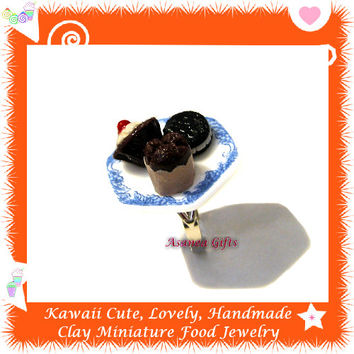 Dolls House Miniatures Food Jewelry - Chocolate Lovers Series - Sweet Chocolate Cupcake Brownie Cookie Dessert Ring