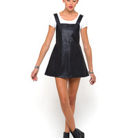 Motel Macaw Pinafore Dress in Black Faux Leather