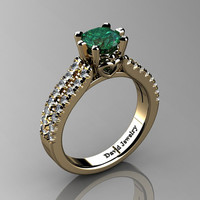 Classic 14K Yellow Gold 1.0 Ct Emerald Diamond Solitaire Engagement Ring R1027-14KYGDEM