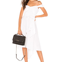 Marled x Olivia Culpo Off Shoulder Tie Front Shirt Dress in White