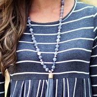 Simple Statement Tassel Necklace in Gray   Monday Dress Boutique