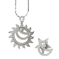 Magic Pieces Woman's Rhodium Plated Spinning Jewelry Set: Sun,Star and Moon Pendant and Ring US 7 Silver J1121