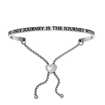 Intuitions Stainless Steel THE ONLY JOURNEY IS THE JOURNEY IN Diamond Accent Adjustable Bracelet