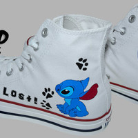 Hand Painted Converse Hi. Stitch, From Lilo and Stitch cartoon. I'm Lost. Handpainted shoes.
