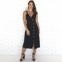 Straight Up Button Dress In Black