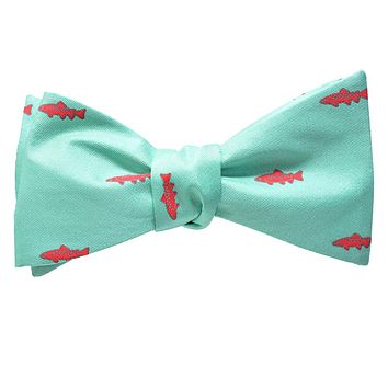 Trout Bow Tie - Light Green, Printed Silk