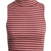 Rae Stripe Rib Turtle Neck Crop