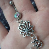 ohm lotus flower belly ring om  meditation in zen yoga Indie new age boho gypsy hippie belly dancer beach and hipster style