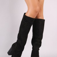 Bamboo Suede Almond Toe Chunky Heeled Knee High Boots