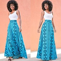 Fashion  Multicolor Totem Print Sleeveless Vest Maxi Dress