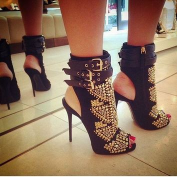 Belt Buckle Diamond Suede Stiletto Heel Peep-toe Zipper High Heel Sandals