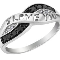 White and Black Diamond I Love You Promise Ring 1/10 Carat (ctw) in Sterling Silver, Size 4.5