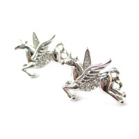 Flying Pegasus Unicorn Shaped Stud Earrings in Silver with Rhinestones | Animal Jewelry