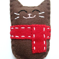 Winter Felt Cat Plush Doll Christmas Felt Animal Made to Order