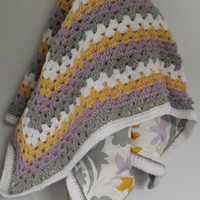 Granny Square Baby Blanket or Toddler Blanket Fabric Lined