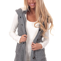 Heather Grey Knitted Sweater Vest with Hood
